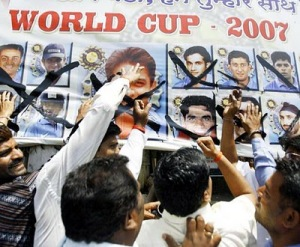 Anger of Cricket Fans during India's loss in WC 2007