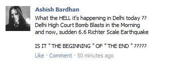 My FacebookStatus Update on Today's Delhi Earthquake